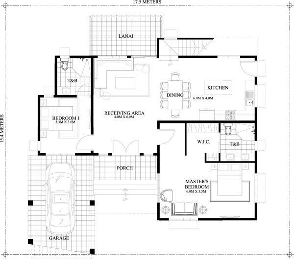 Home Design 17x15m With 4 Bedrooms Home Design With Plansearch Free House Plans Double Story House Best House Plans