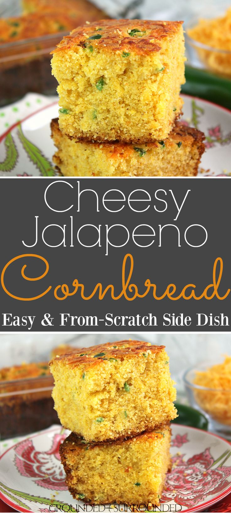 The BEST Cheesy Jalapeno Cornbread | This from scratch recipe is easy to prepare and full of flavor. Shredded cheddar cheese, diced jalapenos, honey, and butter comprise this classic side dish. Serve this corn bread for dinner with a chili, soup, or stew. Use white or wheat flour and whole milk or almond milk! #recipes #southern #cornbread