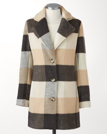 Patchwork stadium coat | #ColdwaterCreek: Classy Clothing, Plaid Coats, Stadium Coats, Sewing Clothing Styles, Clothing Hairs Jewelry, Coldwater Creek, Fun Clothing, Coats Coldwater, Patchwork Stadium