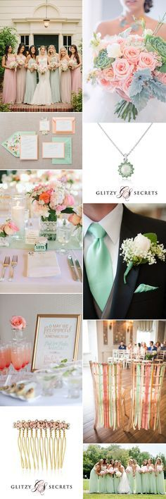 An oh so pretty wedding theme of mint and peach on GS Inspiration - Glitzy Secrets