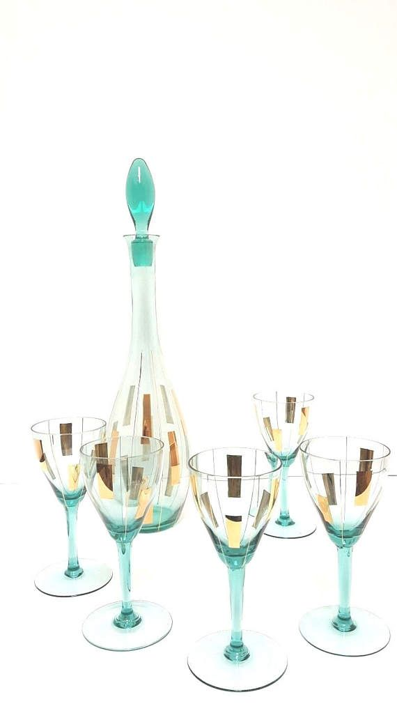 Swanky Mid Century Teal and Gold Liquor Wine Decanter with 5 Glasses on #etsy #midcentury #madmen #wine #liquor #decanter