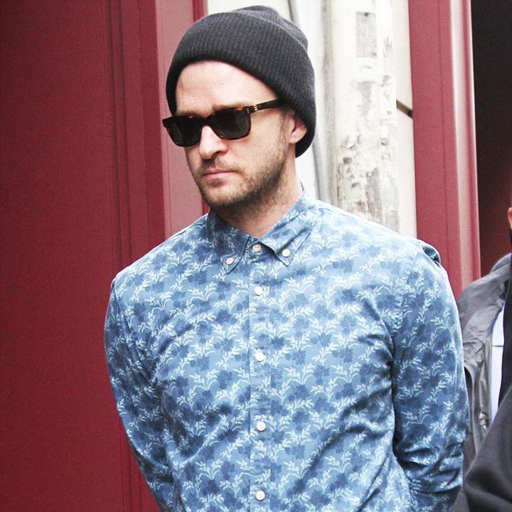 Justin Timberlake looking sharp as he hits the streets of Paris. Top button done up in his Indigo Pique Scotch & Soda shirt.