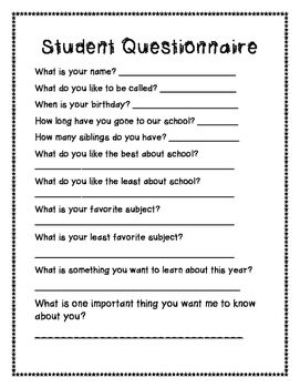 Get to know your students better with this questionnaire! Easy to complete for…