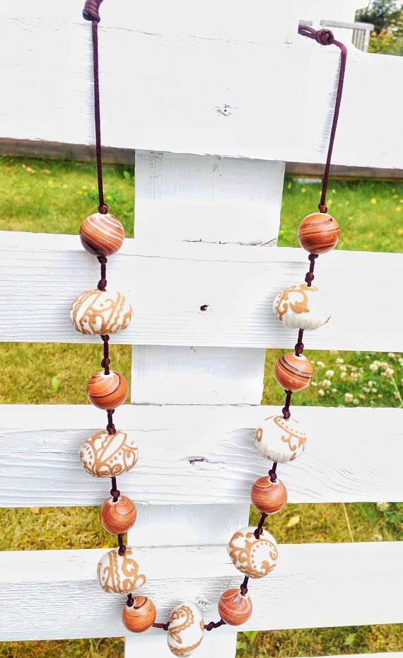 Long Textile Necklace, Statement Jewelry With Wood And Fabric Beads, Rustic Jewelry For Everyday, Boho Birthday Gift For Aunt, Adjustable