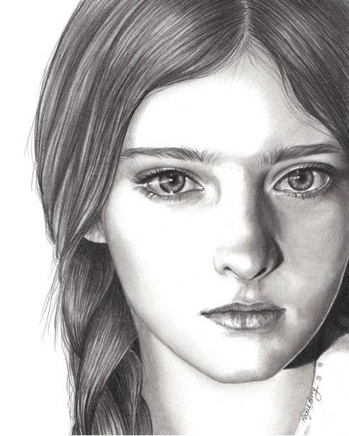 Willow shields primrose everdeen the hunger games pencil portrait celebrity portrait black and