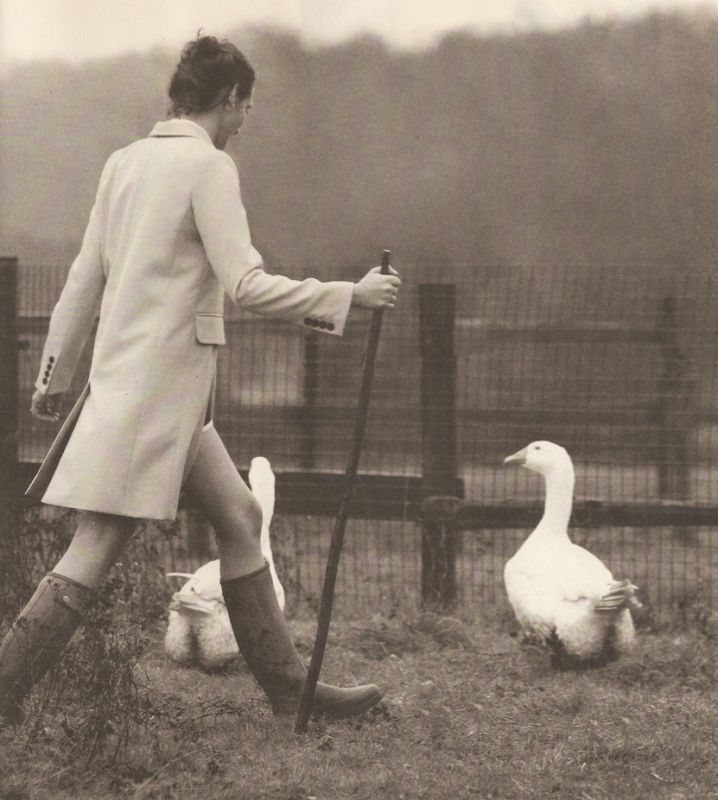 Photo of model Rosemary Ferguson wearing Marc Jacobs at the Horse Haven Rescue Farm in Buckinghamshire by Liz Collins, scanned from the Spring and Summer issue of The Gentlewoman.