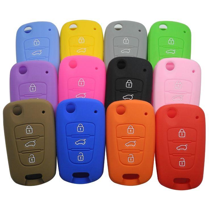 12 Farben Silikon Tastaturabdeckung Halter Shell fit für KIA K2 K5 Sportage Sorento Flip Folding Fernschlüsselkasten 3 Taste Mit L0G0