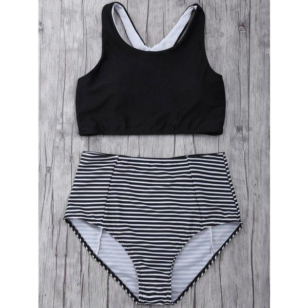 High Waisted Striped Bikini Set ($13) ❤ liked on Polyvore featuring swimwear, bikinis, bikini two piece, high rise swimwear, striped bikini, bikini swimwear and striped swimwear