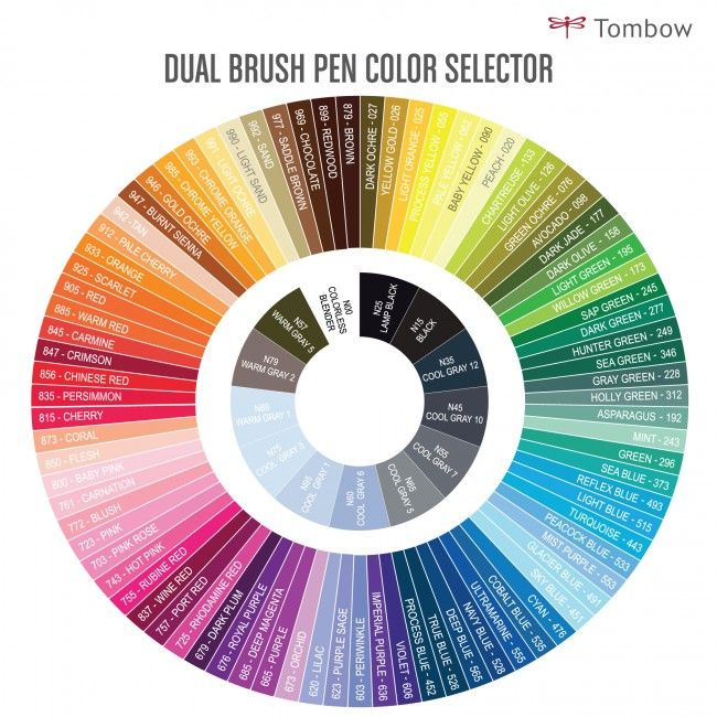 Tombow Dual Brush Pens Color Wheel Swatch