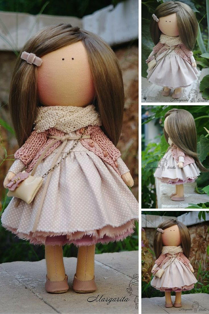 Art doll handmade grey peach Gift doll House doll Collectable doll Soft doll…