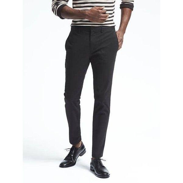 Banana Republic Mens Fulton Stretch Skinny Chino ($70) ❤ liked on Polyvore featuring men's fashion, men's clothing, men's pants, men's casual pants, black, mens zipper pants, mens skinny fit dress pants, mens slim pants, mens zip off pants and mens low rise pants
