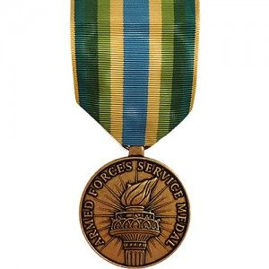 """The Armed Forces Service Medal (AFSM) is an award of the U.S. military and was established on January 11th, 1996. The AFSM is given to personnel who partake in """"significant activity"""" for which no other service or campaign medal is accredited. The term """"significant activity"""" is determined by theater commanders and is usually deemed to be participation in a U.S. military operation considered to hold a high degree of scope, impact, and international significance."""