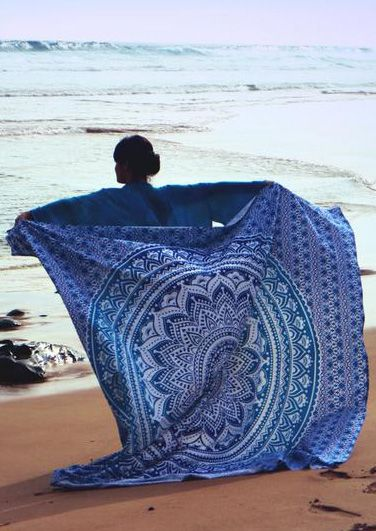 Beach Holiday Gym Camping Summer Fashion Bath Pool Cover Ups Print Square Blanket Towels Blue One Size