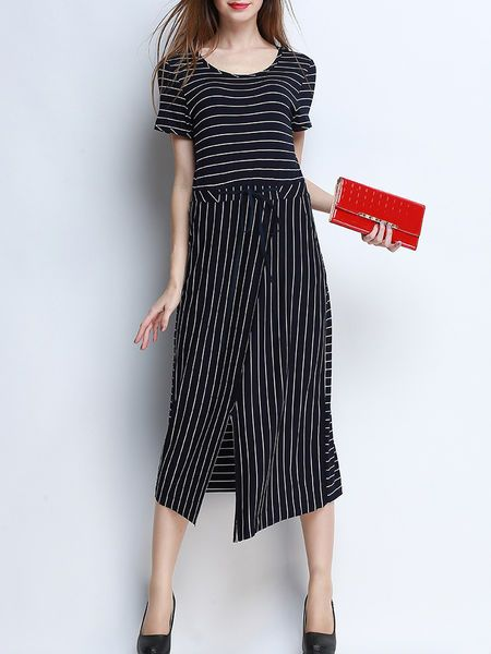Asymmetric Stripe Cotton-blend Midi Dress