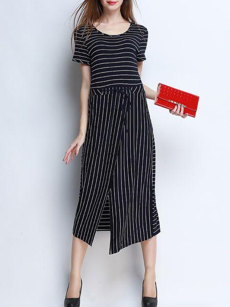 Asymmetric Stripe Cotton-blend Midi Dress