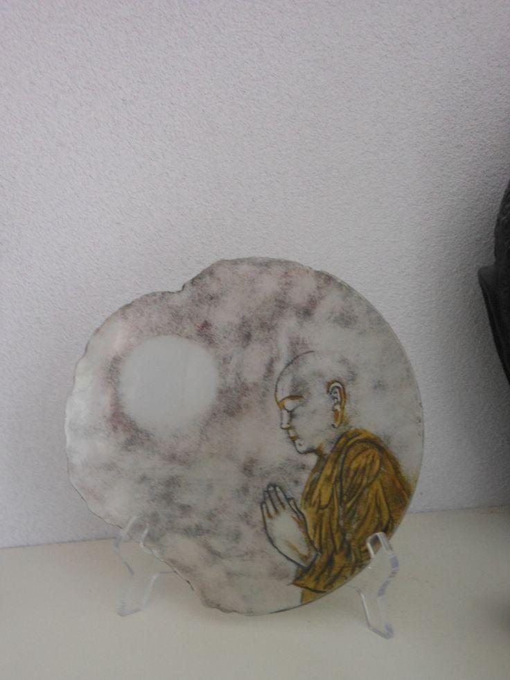 Tibetaanse monnik gebrandschilderd op glas