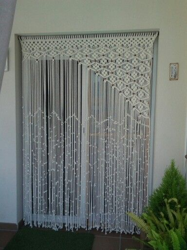 Off-set macramé curtain. Never seen one like this before. Great off-set idea!