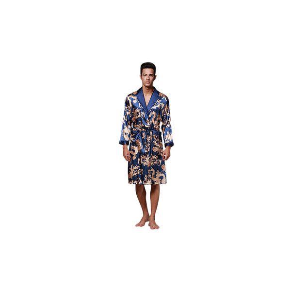 Phoenix Printing Silk-like Pajamas (337.765 IDR) ❤ liked on Polyvore featuring men's fashion, men's clothing, men's sleepwear, men sleepwear pajamas, royal blue, mens silk sleepwear, mens dressing gown, mens clothing and mens bathrobe