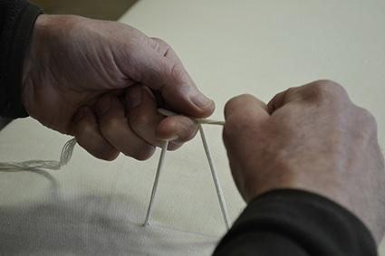 This is a picture of one of our craftsmen putting the finishing touches to a Natural Bed Company futon mattress - made at our workshops in Sheffield. To find out more about our futon mattresses - take a look at our website: http://www.naturalbedcompany.co.uk/futon-mattresses.php