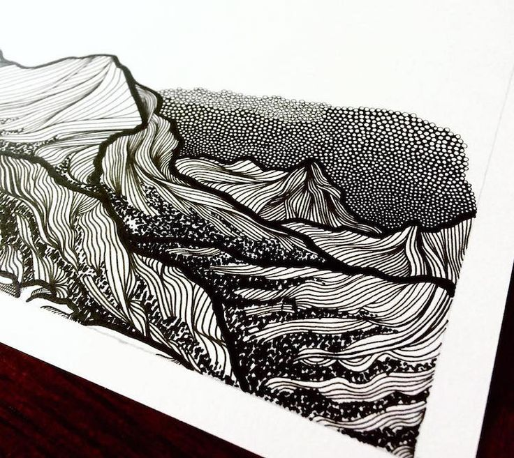 how to draw mountains in ink