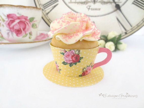 MINI Vintage Tea Cup Printable Cupcake Wrappers With Saucer - High Tea Party Polka Dot Rose Design DIY (Choose your colours) on Etsy, $5.67