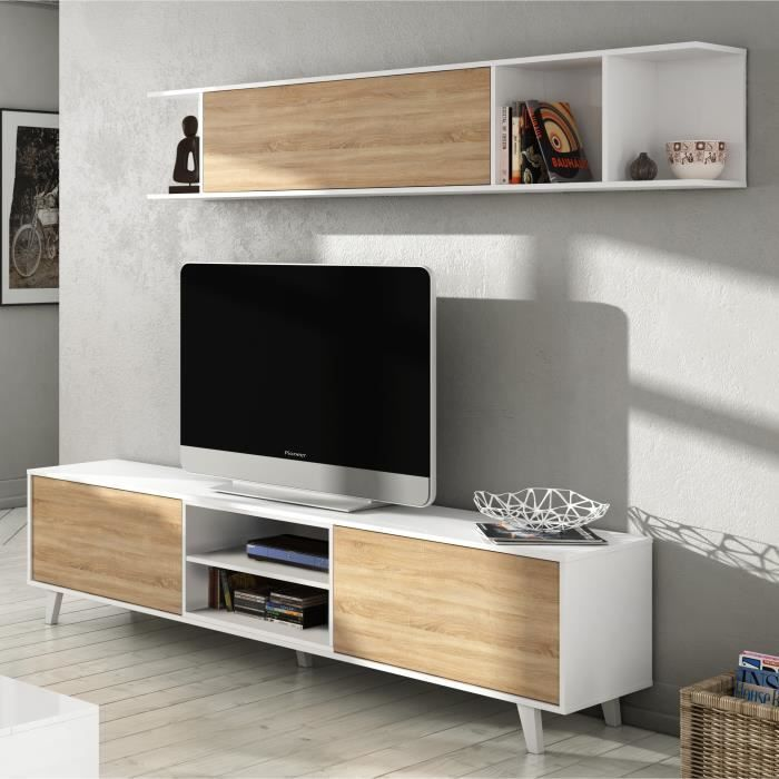 Zaiken Plus Meuble Tv Scandinave Blanc Brillant Et Decor Chene L 180 Cm Zaiken Plus Meuble Tv Scandinave In 2020 Modern Tv Wall Units Living Room Tv Tv Wall Unit
