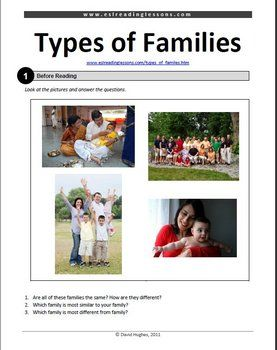 ESL Reading Practice: Types of Families: a lovely set of activities for ESL classroom.