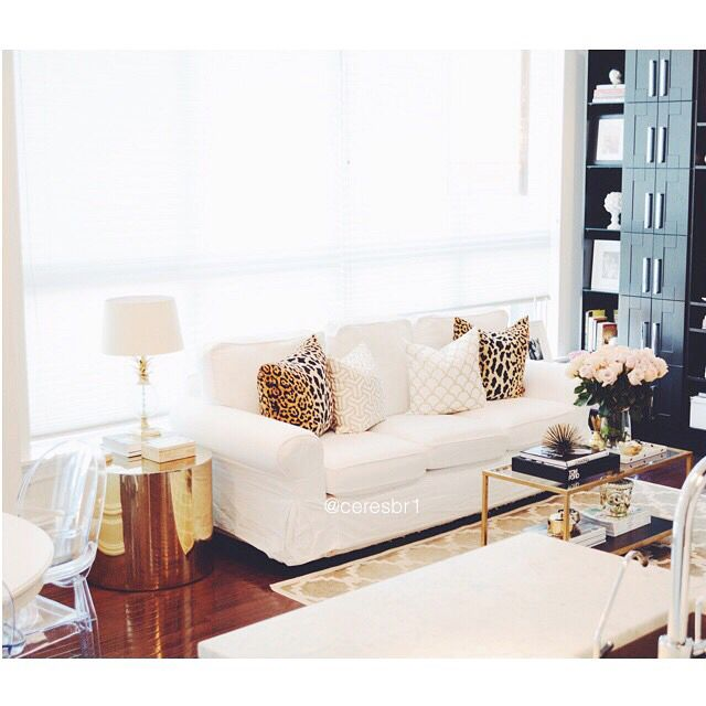 Living Room White And Gold Decor Leopard Pillows Vintage Coffee Table