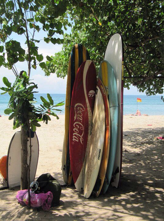 Kuta Bali boards surfing sun