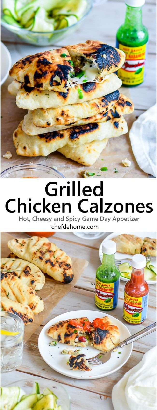 Sharing with you, mini grilled Chicken calzones filled with aromatic, flavorful and spicy chicken, spinach, and oozing cheese! With delicious flavor@ElYucateco Green Habanero Sauce, these stuufed pocket are perfect to please hungry cheering crowds!