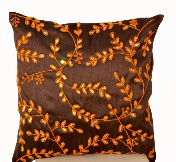 Brown throw pillows with orange bead sequin detail - Orange Leaves pillow - Brown Silk pillow - Brown Cushion cover zipper - Gift -16X16