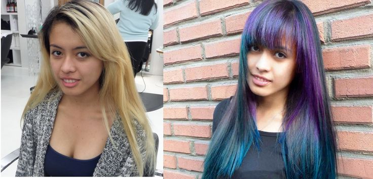 Purple and teal ombre hair colour transformation by Dimitra at CItrus Hair Salon!