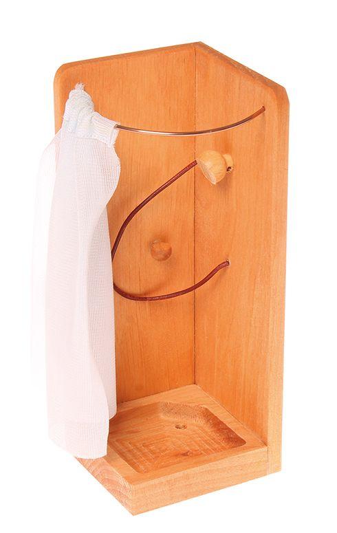 Dusche mit Vorhang und Brause mit Schlauch. Holz: Erlenholz geölt. Maße: Höhe 16cm. Einrichtung für das Puppenhaus (39990): Küche, Esszimmer, Wohnzimmer, Schlafzimmer und Bad, alles kann wunderschön zusammengestellt werden mit unseren...