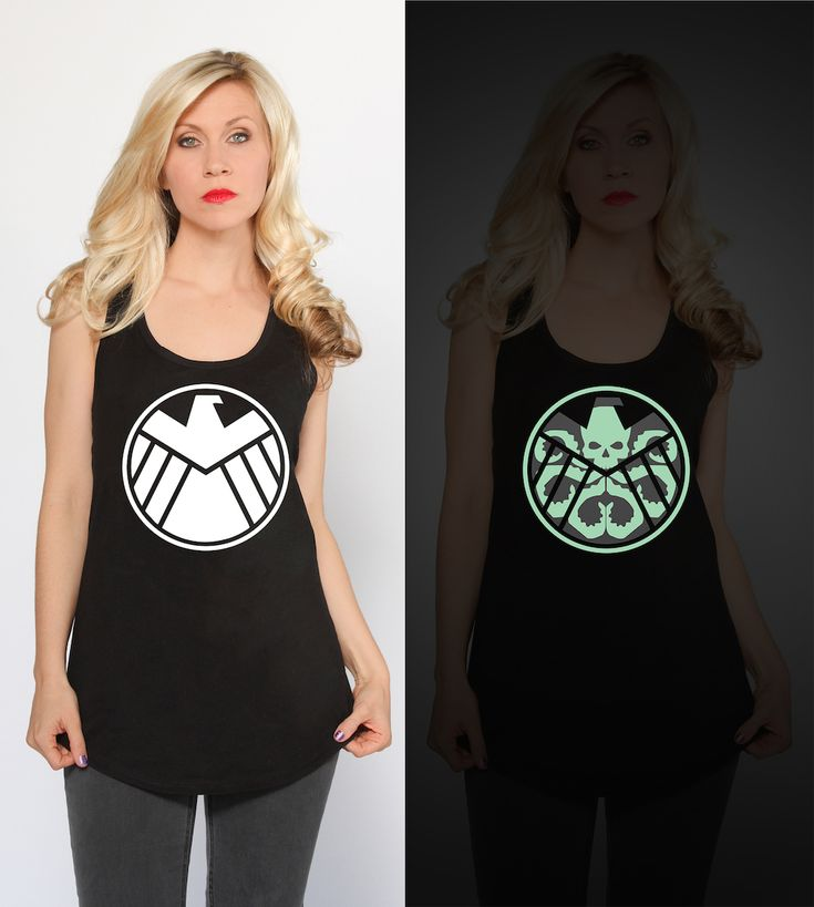 SHIELD logo tank, glow-in-the-dark HYDRA logo in the dark!!! - Hydra Takeover Glow Tank - http://www.heruniverse.com/brands/marvel.html