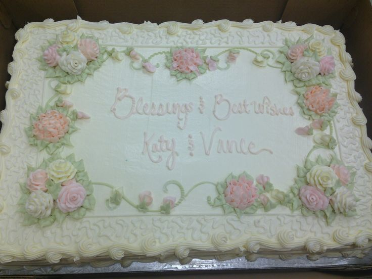 Full Sheet Cake With Pastel Yellow Pink Cream And Peach