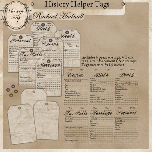 Genealogy Scrapbook tags--very cute! Get your free course at www.perpatuatree.com/research