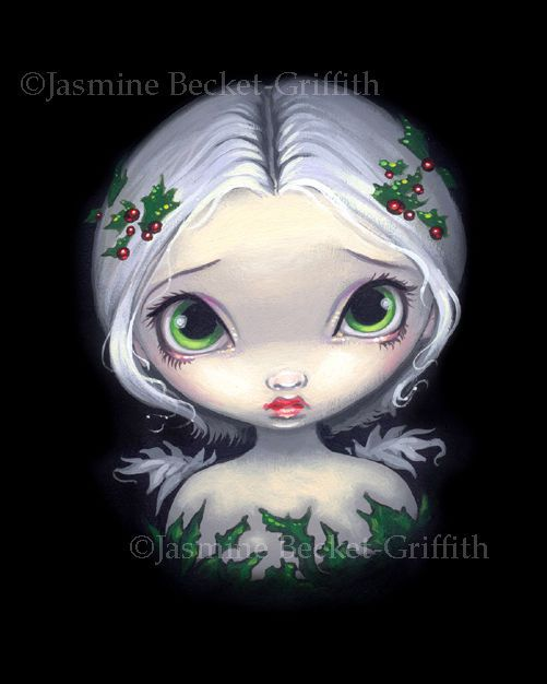 Jasmine Becket Griffith Art Print Signed Holly Angel Christmas Holiday Berry Pop | eBay