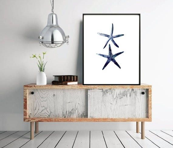 Stafish Art Print Navy Blue Starfish Two Starfish Digital