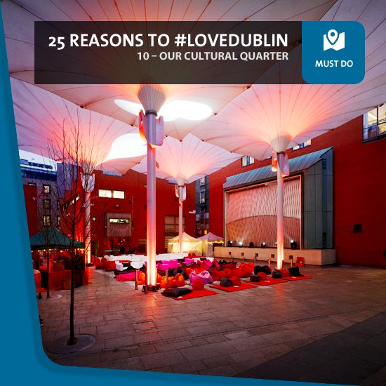 #10: Our Cultural Quarter - Dublin's Temple Bar district richly deserves its status as the city's Cultural Quarter. As well as its many fine bars and restaurants, you'll find plenty of cool independent fashion and design shops, colourful outdoor markets and award-winning architectural spaces.