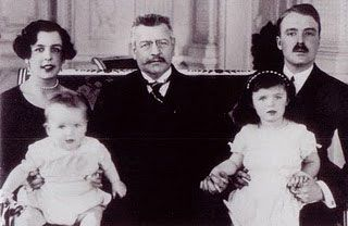 3.28.11: Stay at home | New York Social Diary-Monaco's Royal Family 1920s-Princess Charlotte with baby Prince Ranier (the future Ranier III), Prince Louis II of Monaco, Count Pierre de Polignac (Charlotte's husband) with Princess Antoinette