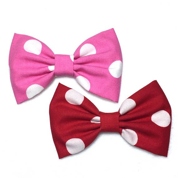 Red Polka Dot Hair Bow Red Bow Tie Red Bow Clip Fabric Bow