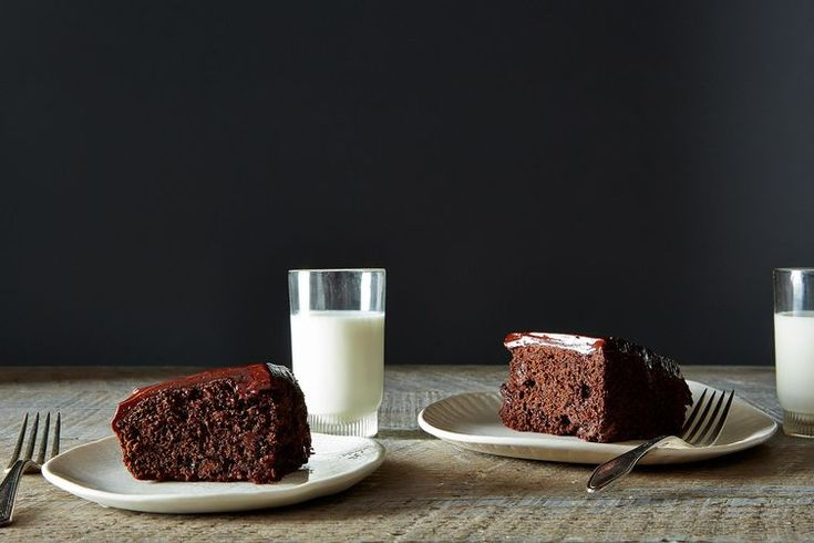 Chocolate Chocolate Chip Cake with Chocolate Sour Cream Frosting. Not-too-boring, not-too-rich.