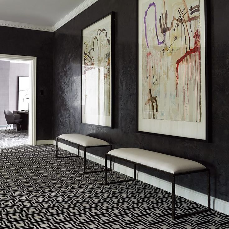 """Greg Natale on Instagram: """"These powerful black stucco walls contribute plenty of drama and character to The Melbourne House. My TOM carpet from @designerrugs is a…"""" • Instagram"""
