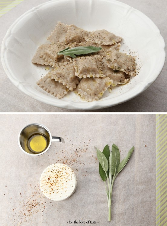 Feta  sage ravioli with chili by - for the love of taste - #homemade #pasta #spelt #sage http://fortheloveoftaste.wordpress.com/2013/03/22/feta-sage-spelt-ravioli-with-chili/#