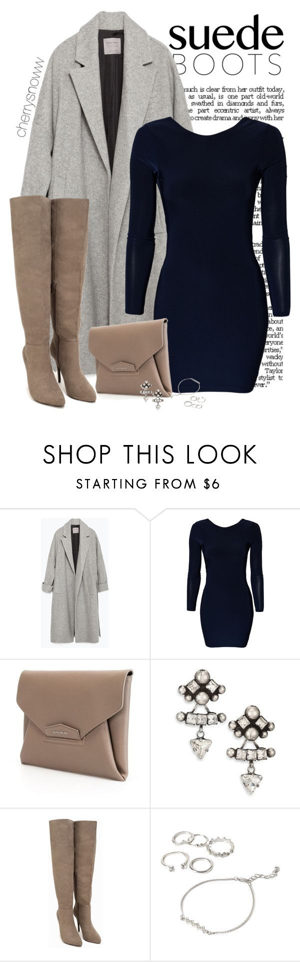"""Classy chic suede thigh high boots outfit"" by cherrysnoww ❤ liked on Polyvore featuring Zara, Vero Moda, Givenchy, DANNIJO, Nly Shoes and Forever 21"