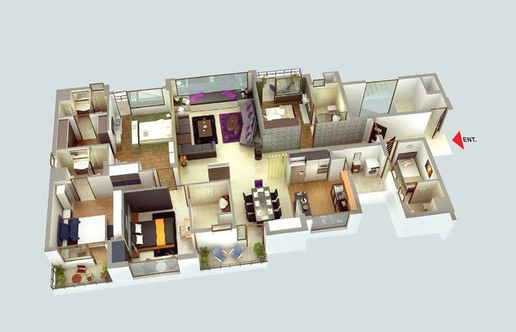 50 four 4 bedroom apartment house plans bedroom apartment formal dining rooms and bedrooms - A room apartment that serves two purposes design ...