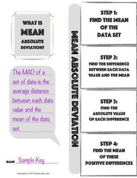 MEAN ABSOLUTE DEVIATION FOLDABLE NOTE-TAKING GUIDE - TeachersPayTeachers.com
