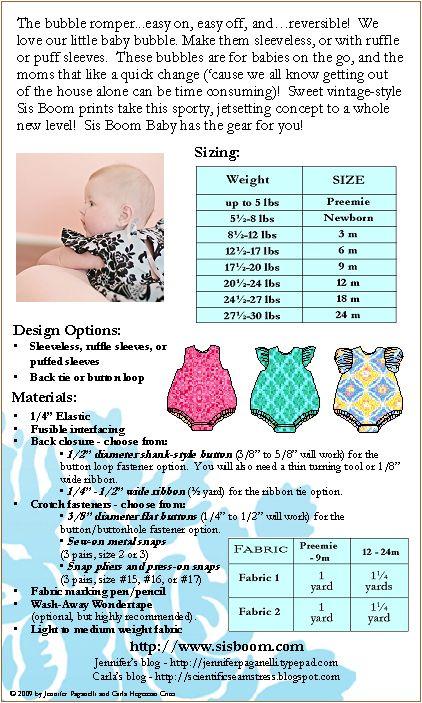 Printable Baby Romper Pattern | ... Patterns » SisBoom » Sis Boom Carly Bubble Romper E-Pattern