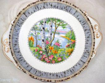 Royal Albert Silver Birch Cake Plate, English Bone China Cookie Plate, Dessert Plate, Tea Party, ca 1940-