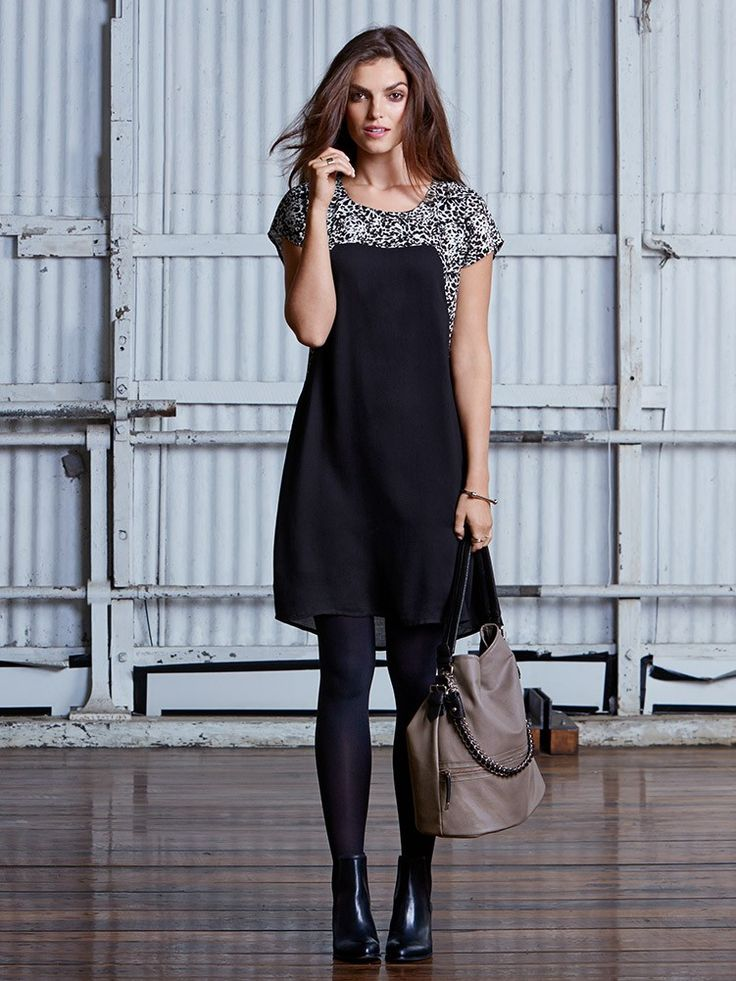 'Chloe' Printed Yoke Shift Dress - JEANSWEST